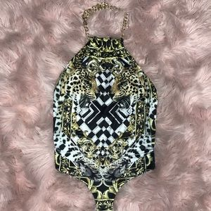 Gold Chains Tiger Bedazzled Bodysuit